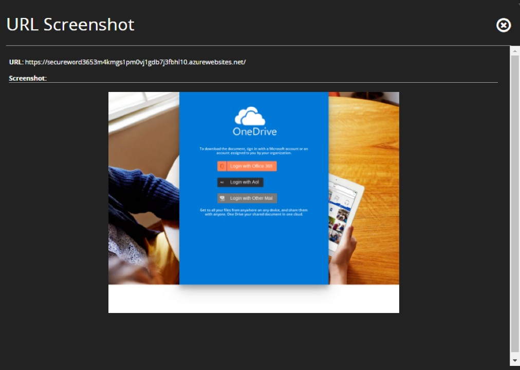 Figure 6: Example OneDrive Phishing URL.