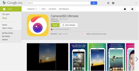 Android Camera App Camera360 Ultimate found to leak sensitive user data including hashed passwords