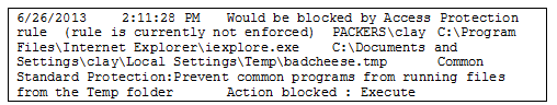 Figure 4: McAfee Access Protection log event