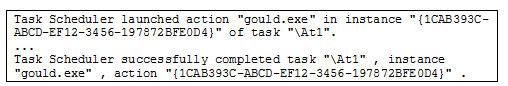 Figure 6: Event ID 200 & 201 - Scheduled Task execution