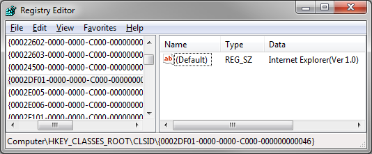 Regedit Screen showing our CLSID being named InternetExplorer(ver 1.0)