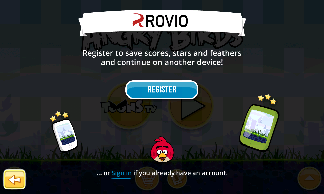 Figure 1. The registration page of the Rovio account.