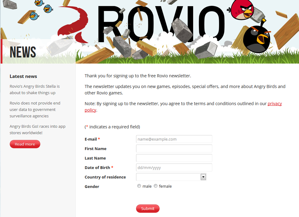 Figure 4. Newsletter registration page with more personal information.