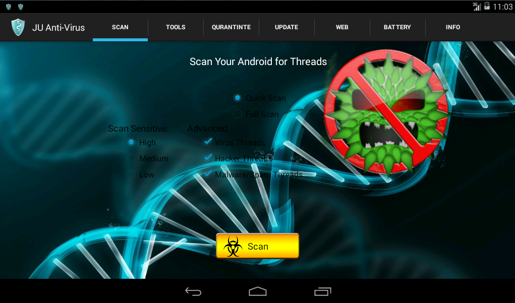 Fig. 6. The Scan button in JU Anti-Virus Pro app.