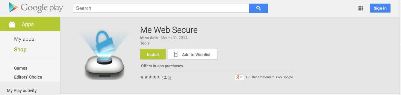 Me Web Secure app in Google Play store.