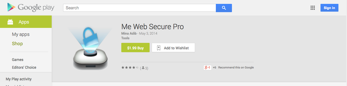 The Me Web Secure Pro app in Google Play Store.