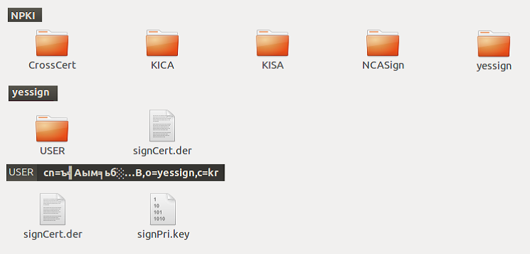 Fig. 16. The content of the signature certificate and keys.