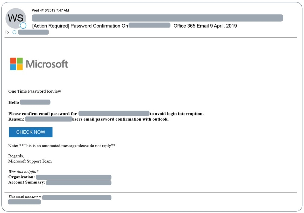 Figure 3: Example email-based attack with Office 365 branding.